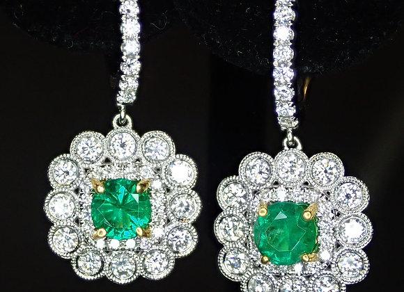 1.11tcw Zambian Emeralds Earrings