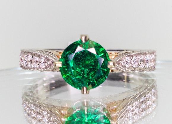 1.02ct Zambia Emerald Ring