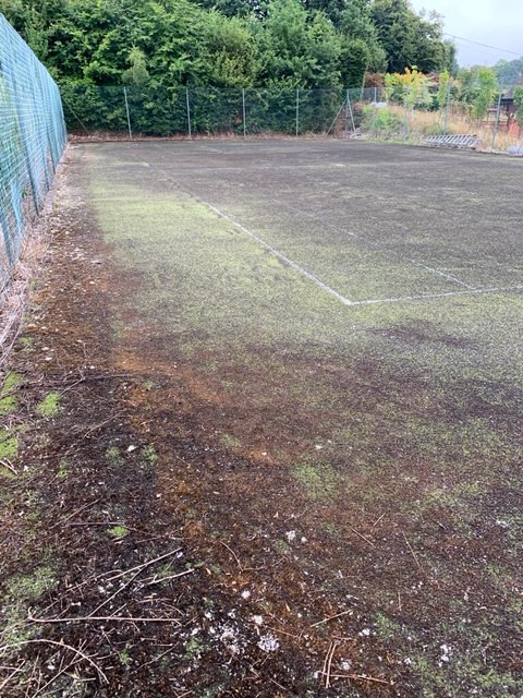 Tennis Court Before Maintenance Service