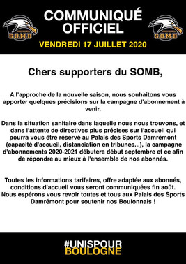 🚨INFORMATIONS IMPORTANTES SAISON 2020-2021🚨