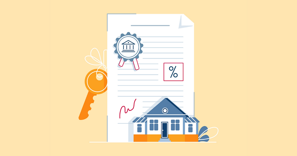 Mortgage contract concept. Signing paper agreement, document with house keys, bank stamp, mortgage rate.