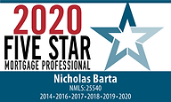 2020 Five Star Mortgage Professional Nicholas Barta Badge