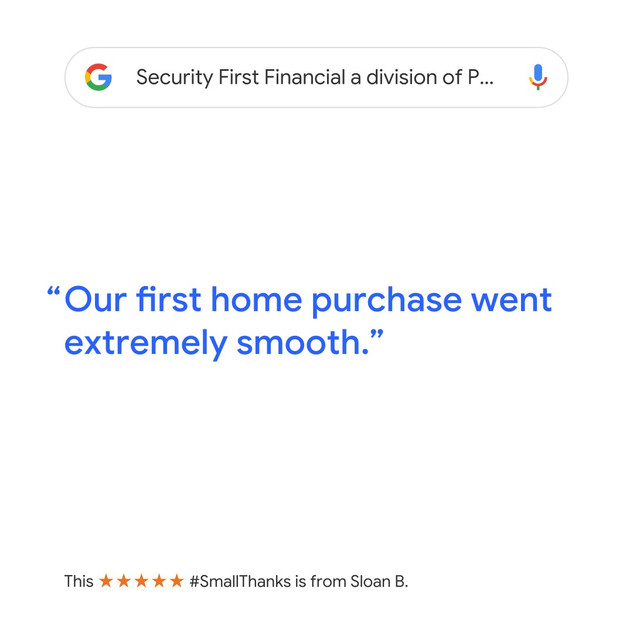 5-Star Review for First Home Purchase with Security First Financial