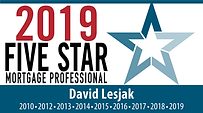 2019 Five Star Mortgage Professional, Dave Lesjak