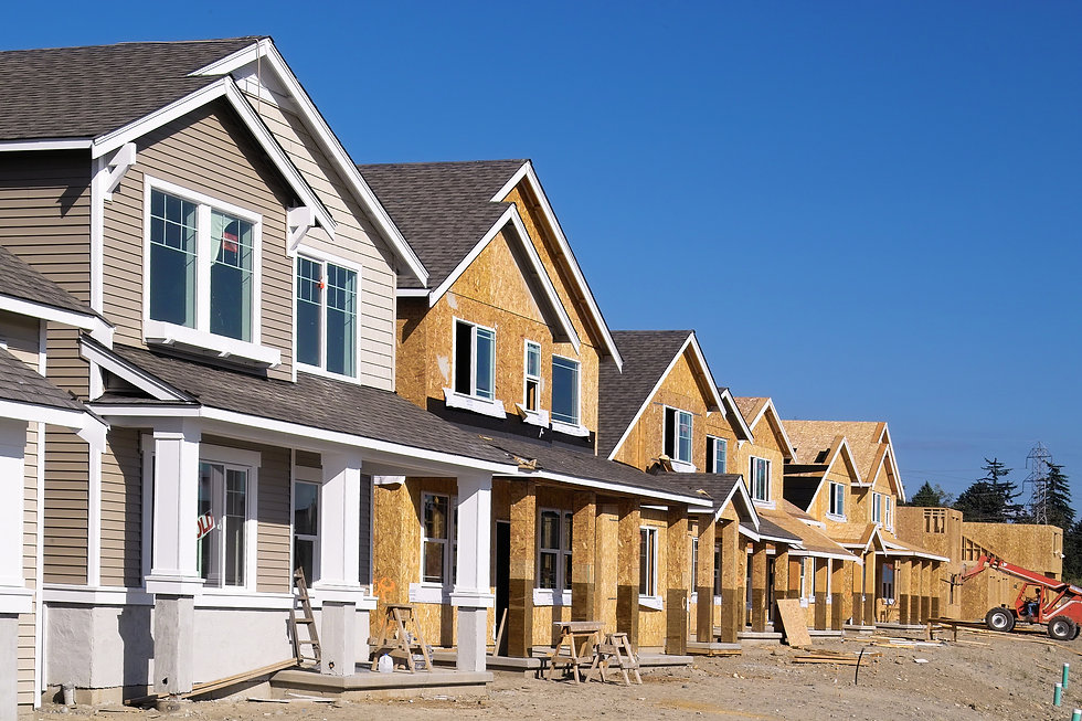A row of homes that are under construction