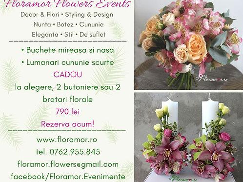 pachete flori nunta lumanari si buchete