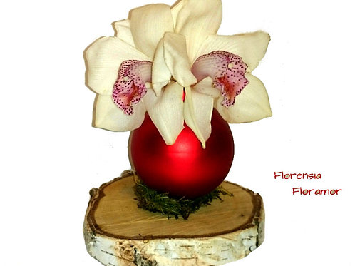Aranjament iarna cu orhidee in glob