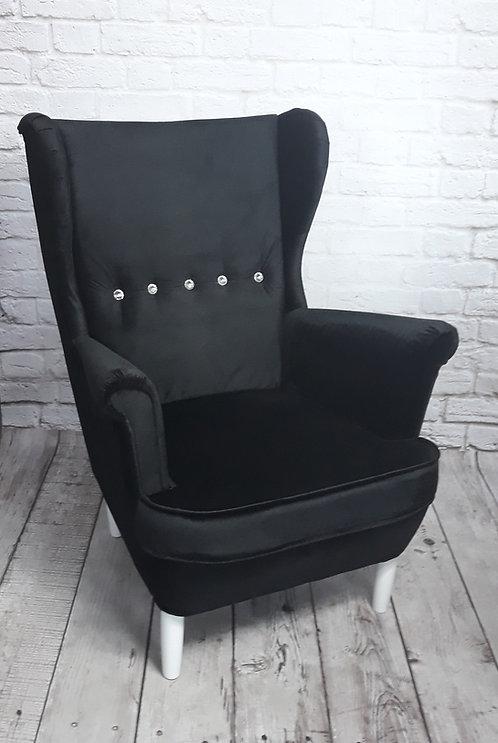 Fotel uszak guzik Swarovski