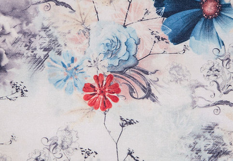 Tkanina Beauty welur kwiatowy wzór