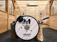 Virtual reality headset sits on a Viking's Landing shield
