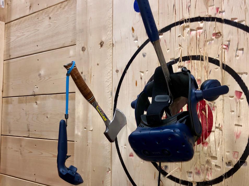 Viking's Landing virtual reality headset hangs on axe