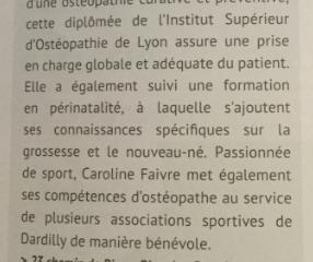 Caroline FAIVRE Ostéopathe à Dardilly