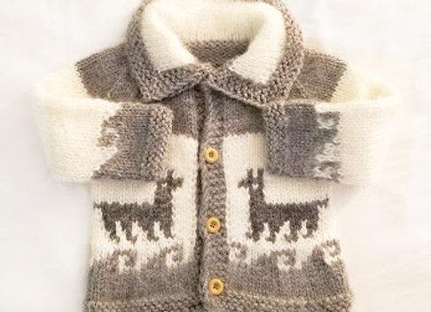 White/gray llama sweater