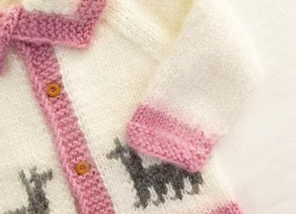 white/pink llama sweater