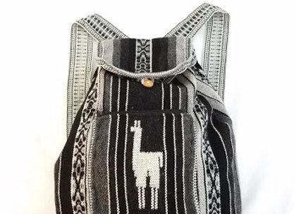 black and gray llama backpack