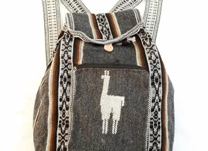 gray and brown llama backpack