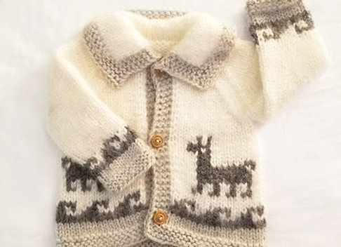 white/light gray llama sweater