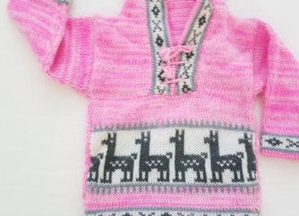 pink llama sweater