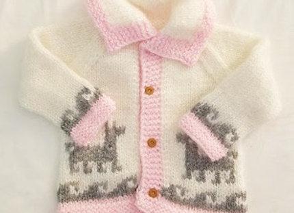 white/light pink llama sweater
