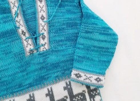 turquoise llama sweater