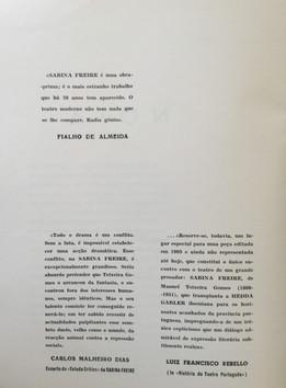 Brochura para a 1.ª representação da peça Sabina Freire