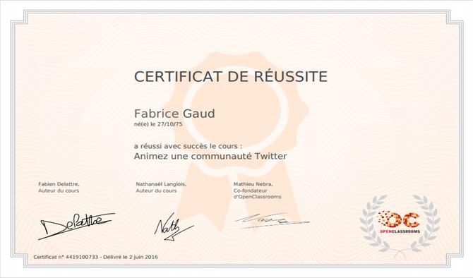 acofo certifié en animation de communauté Twitter