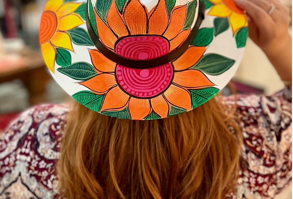 Orange Sunflower Mexican Hand Painted Hat