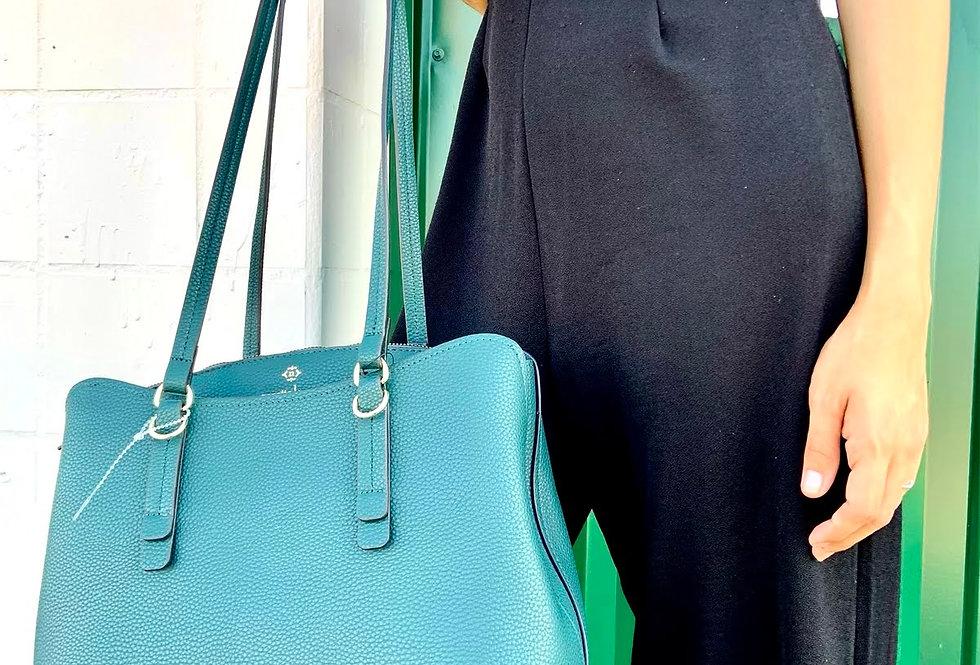 Nanette Lepore Liam Triple Section Shoulder Teal Vegan Leather Handbag