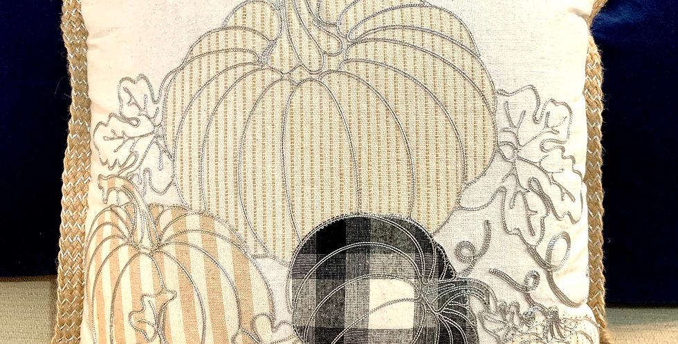 Gray/Beige Pumpkin Pillow