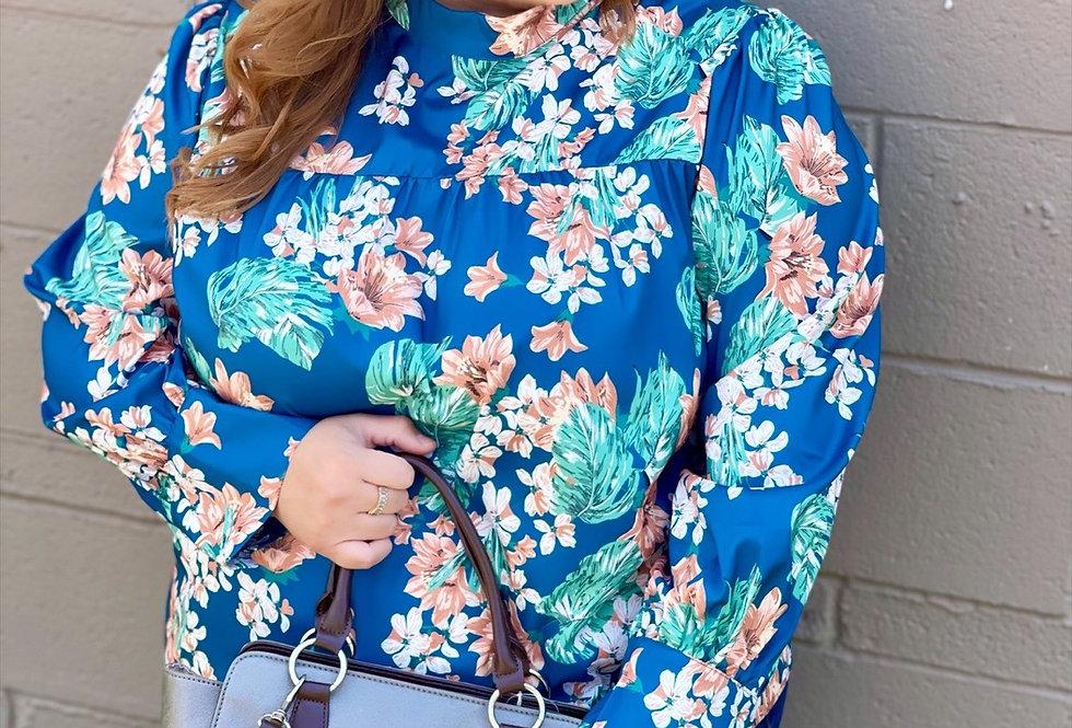 Blue Floral Long Sleeve Blouse (2X/3X)