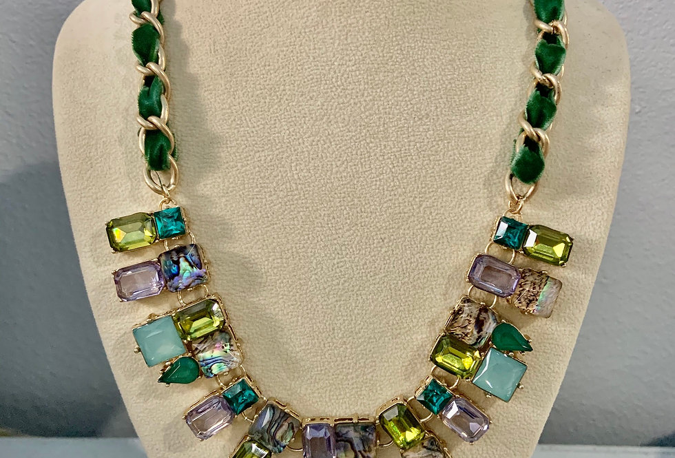 Gold with Green Velvet Chain Gem Necklace