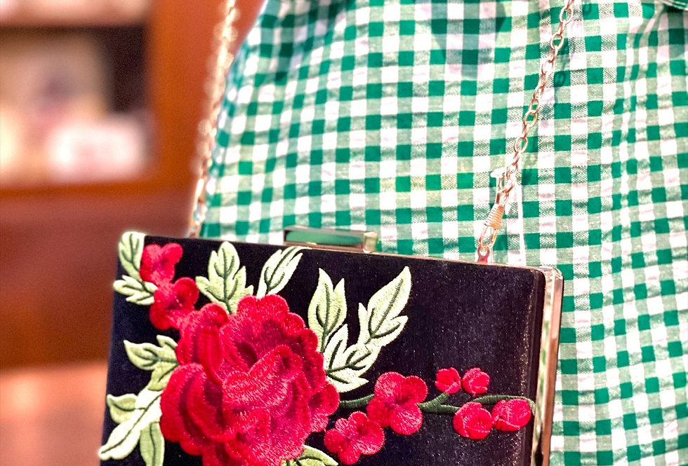 Embroidered Rose Clutch with Chain
