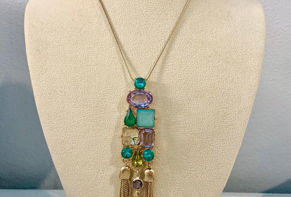 Tassel Gem Pendant Necklace
