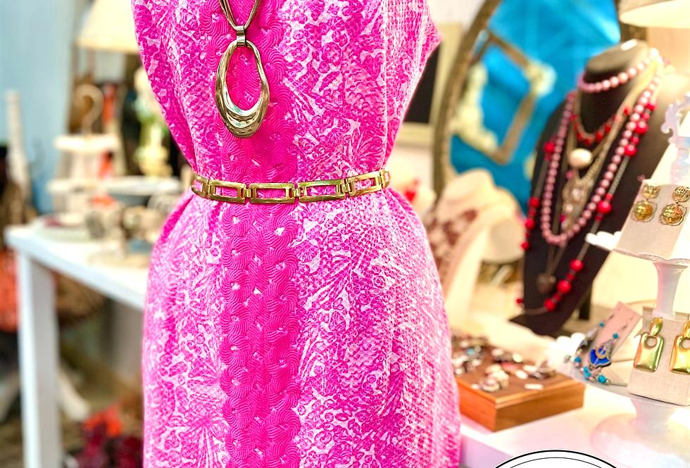 Neon Pink & White Sleeveless Dress