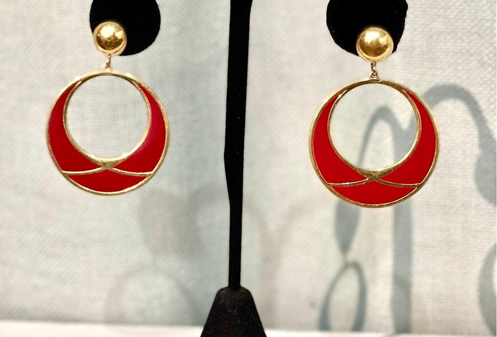 Vintage Red & Gold Hoop Earrings