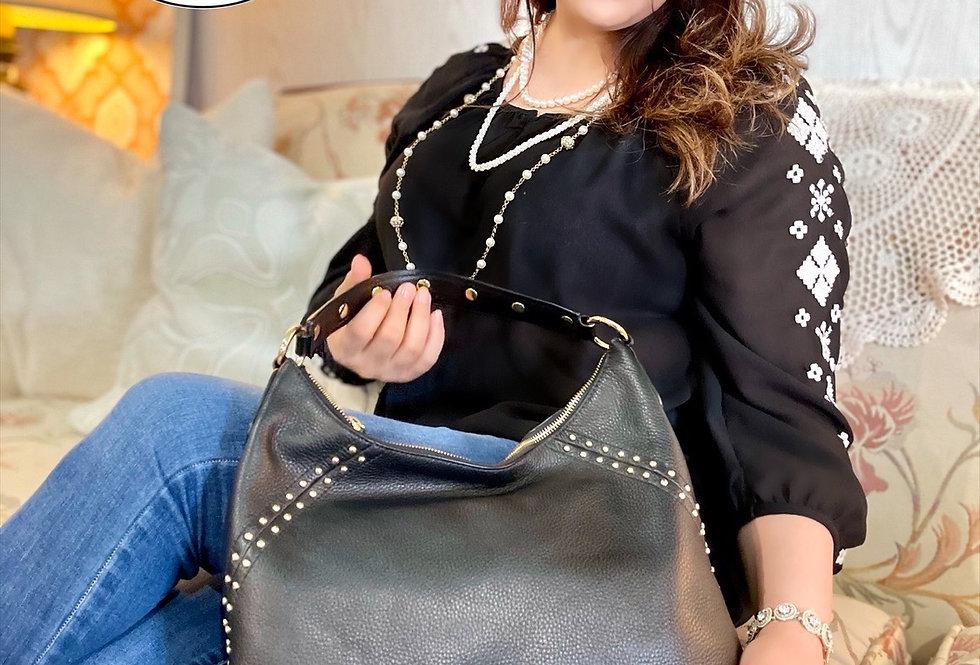 Black & Gold Studded AriaMichael Kors Handbag