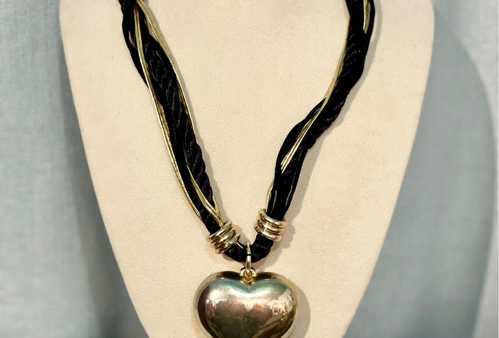 Black & Gold Heart Necklace