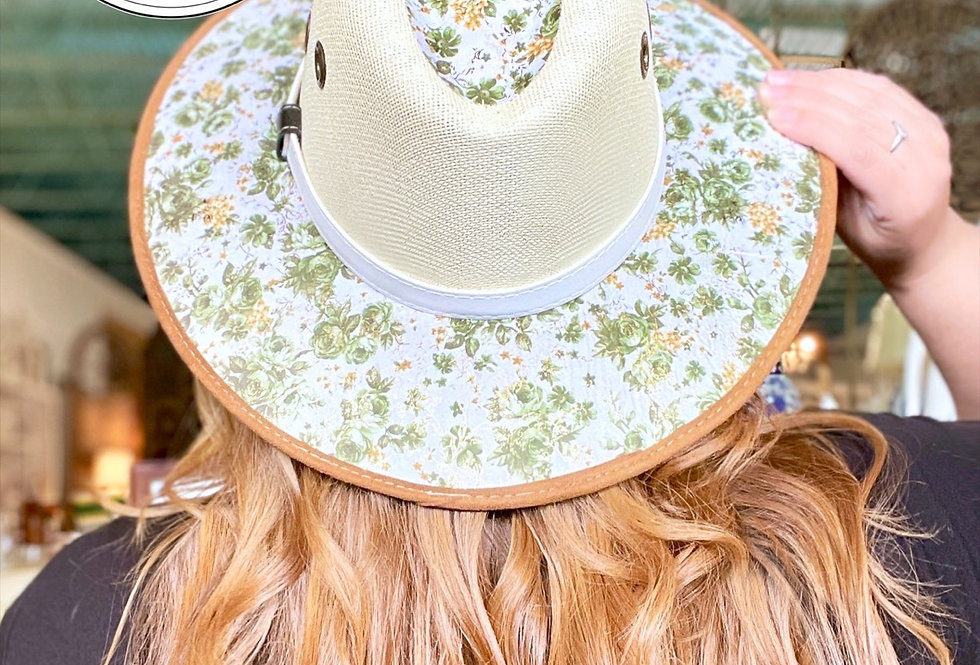Green Floral Mexican Hat (Size Medium)