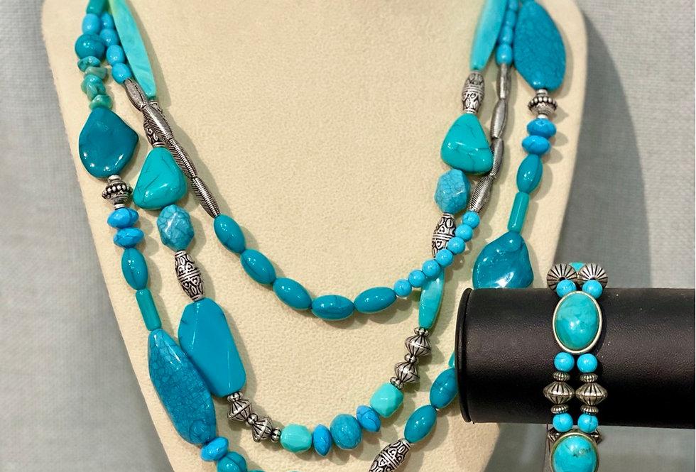 Turquoise & Silver Necklace & Bracelet Set