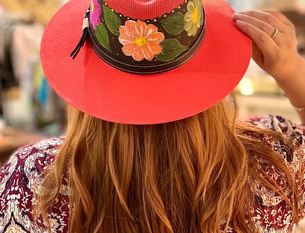 Red Mexican Hand Painted Hat (Size Medium)