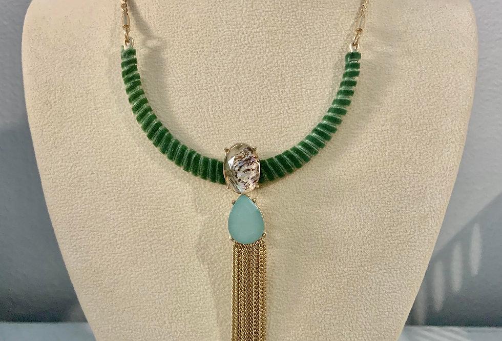 Collar Gem Drop Tassel Necklace