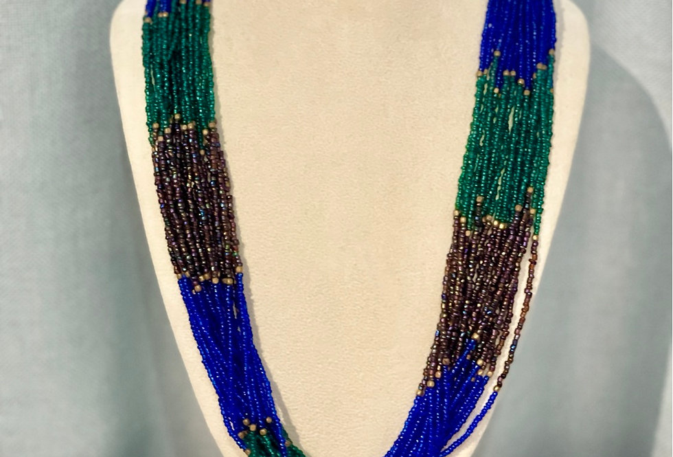Full Beaded Blue/Green/Brown Necklace