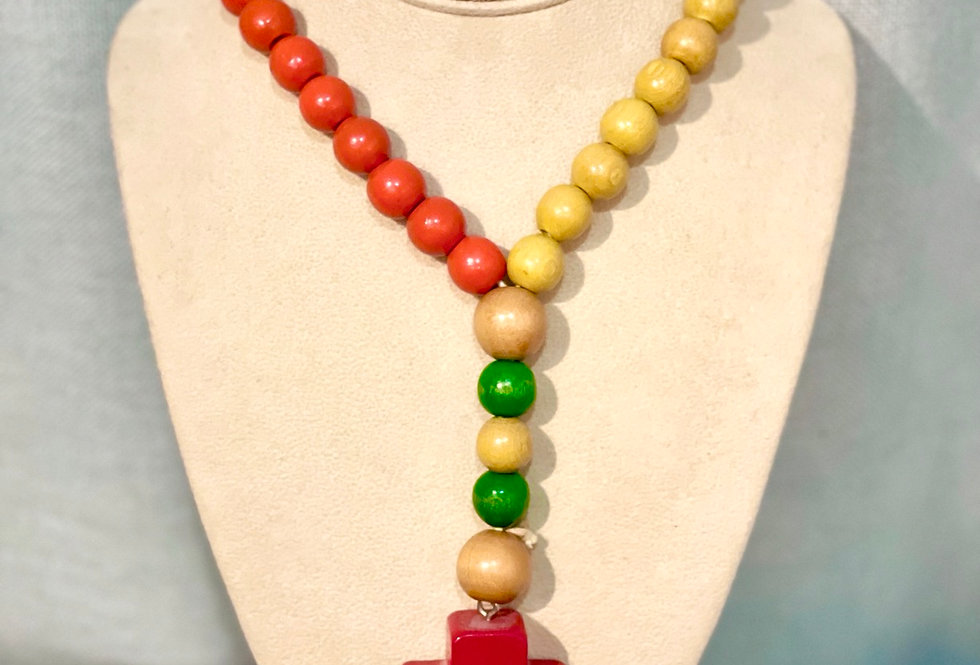 Vintage Rosary Style Wooden Bead Necklace