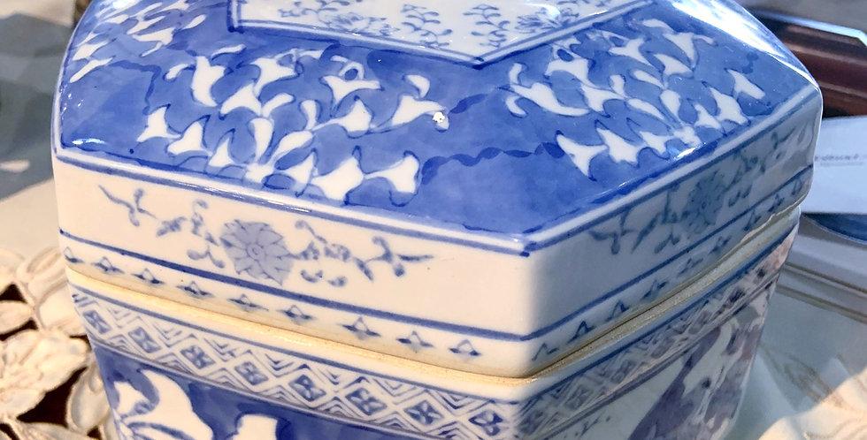 Blue / White Ceramic Octagon Box