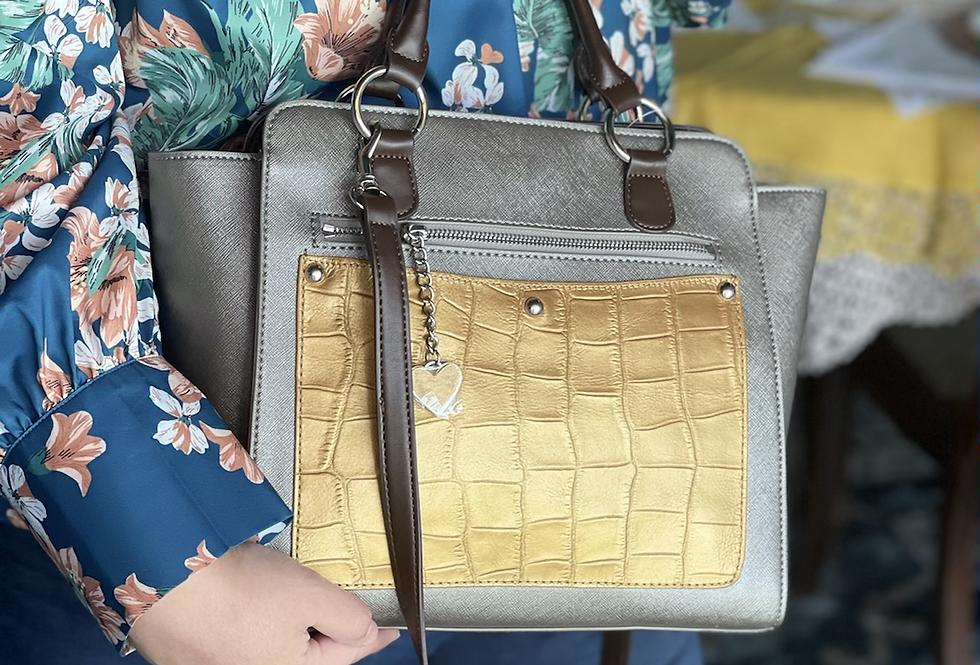 Pewter & Gold Handbag