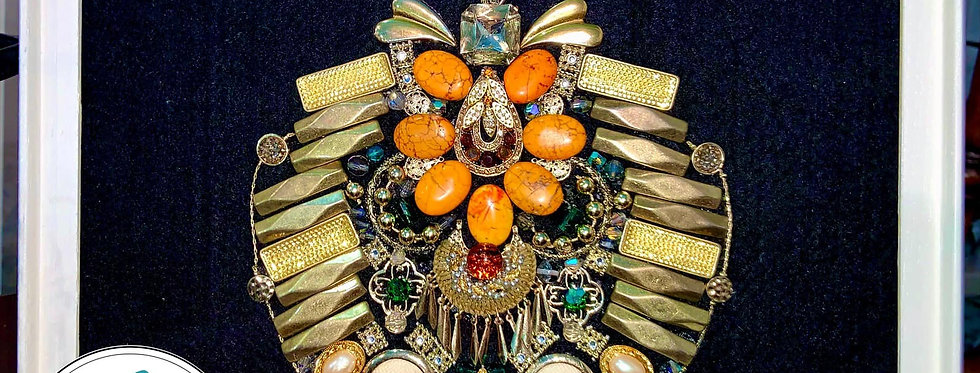 Handmade Jewelry Framed Art Pumpkin