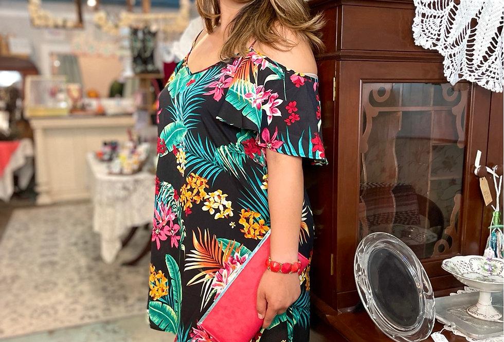 Cold Shoulder Tropical Dress (Size XL)