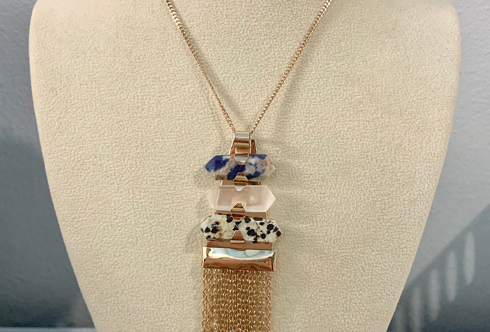 Gold Stone Tassel Pendant Necklace