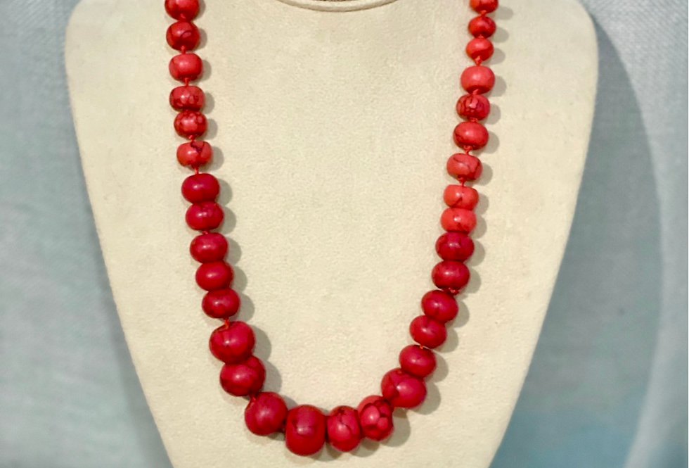 Red Marble Bead Necklace