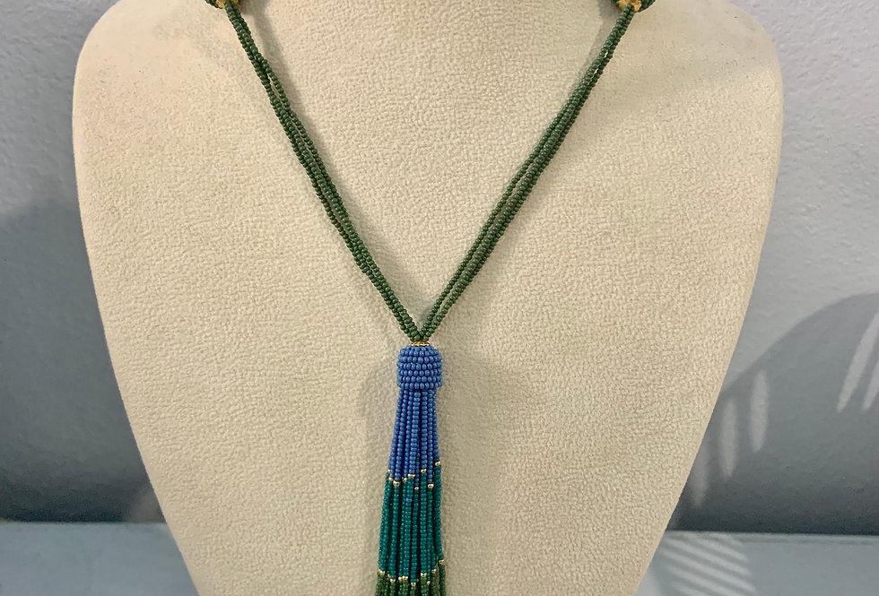 Full Beaded Blue & Green Tassel Necklace